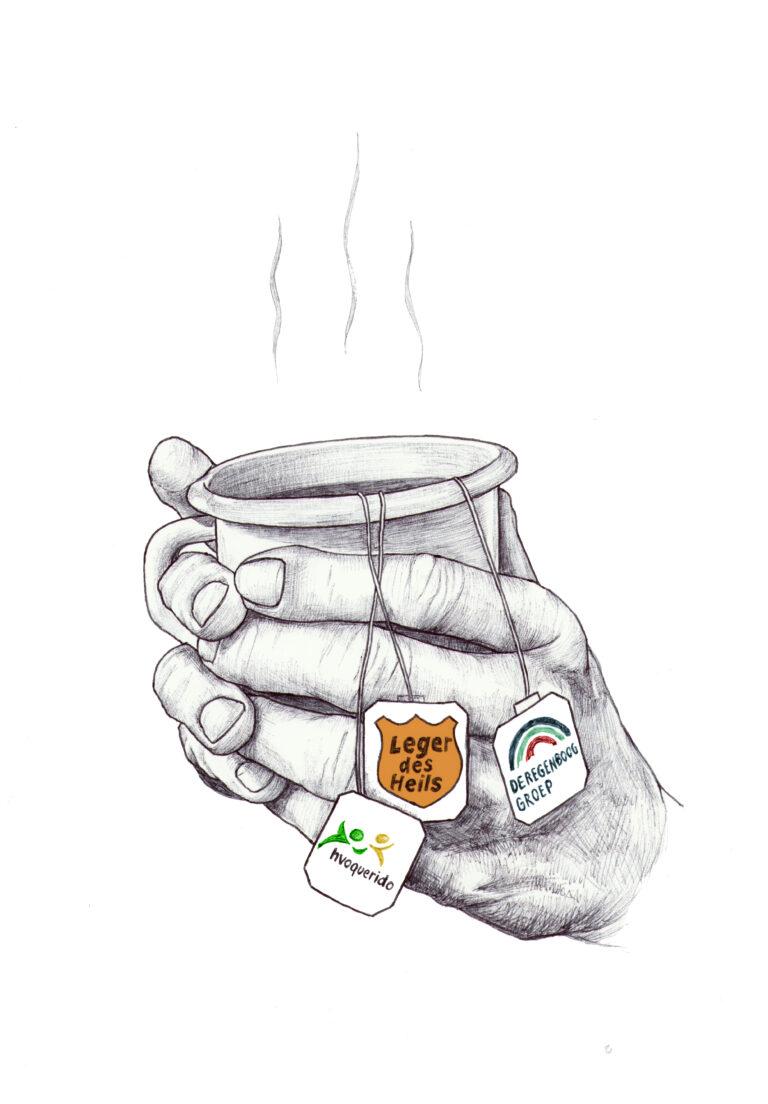 Illustratie thee thuisloze - dakloos in tijden van corona