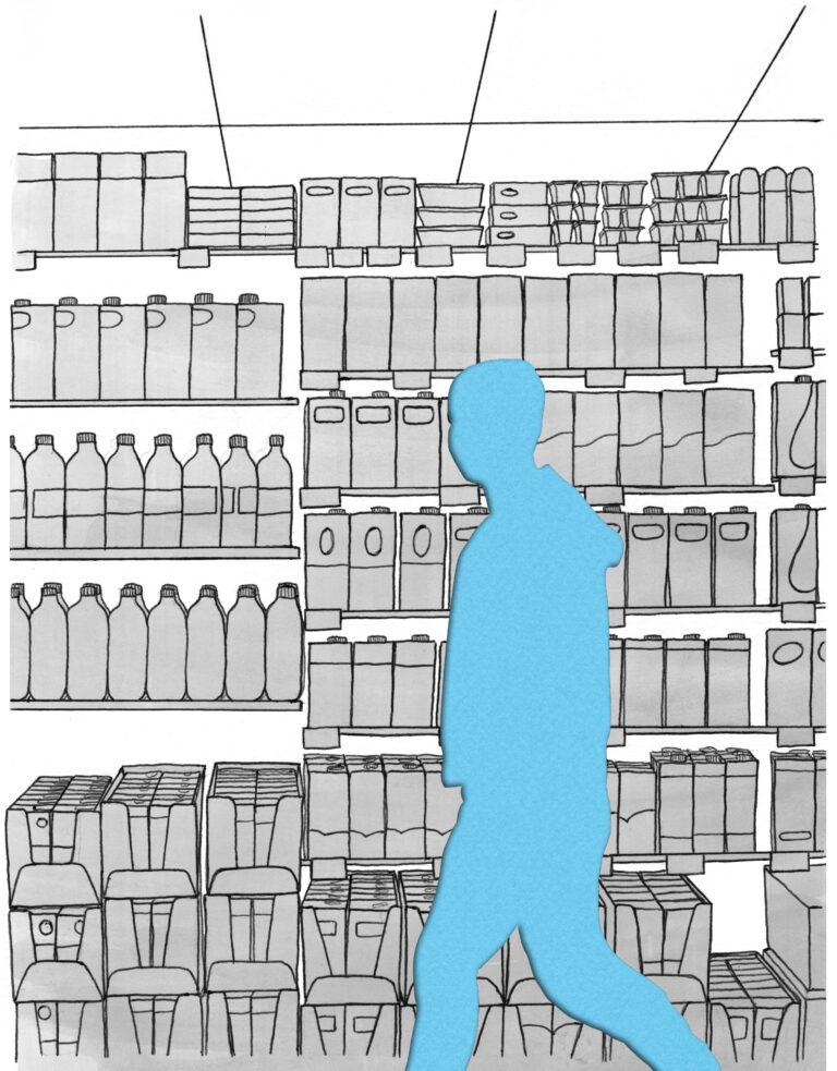 Vast tussen twee werelden supermarkt Mede