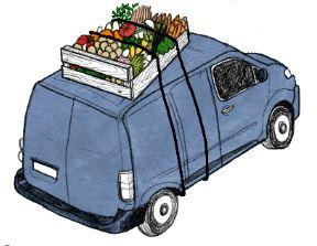 afbeelding blauw busje met voedselpakket op het dak